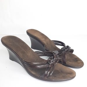 Hillard & Hanson Leather Sandals Low Heel Size 8